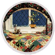 A House And Garden Cover Of A Four-poster Bed Round Beach Towel