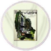 A House And Garden Cover Of A Living Room Round Beach Towel