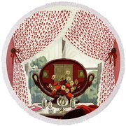 A House And Garden Cover Of A Mirror Round Beach Towel