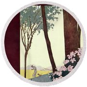 A House And Garden Cover Of A Rural Scene Round Beach Towel