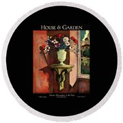 A House And Garden Cover Of A Vase Of Flowers Round Beach Towel