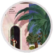 A House And Garden Cover Of A Woman In A Doorway Round Beach Towel