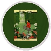 A House And Garden Cover Of A Woman Raking Leaves Round Beach Towel