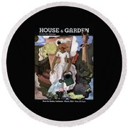 A House And Garden Cover Of A Woman Watering Round Beach Towel
