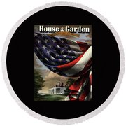 A House And Garden Cover Of An American Flag Round Beach Towel