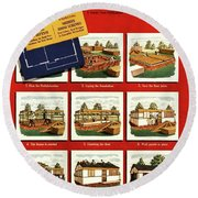 A House And Garden Cover Of Construction Stages Round Beach Towel