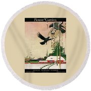 A House And Garden Cover Of Crows By A House Round Beach Towel