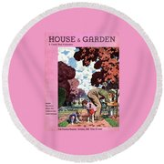 A House And Garden Cover Of People Gardening Round Beach Towel