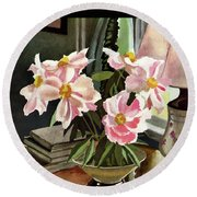 A House And Garden Cover Of Rhododendrons Round Beach Towel