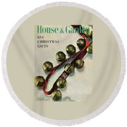 A House And Garden Cover Of Sleigh Bells Round Beach Towel