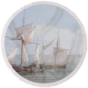 A Hoy And A Lugger With Other Shipping On A Calm Sea  Round Beach Towel