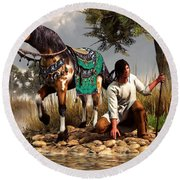 A Hunter And His Horse Round Beach Towel