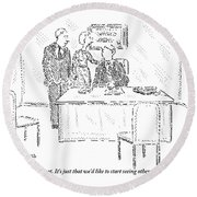 A Husband And Wife Speak To A Marriage Counselor Round Beach Towel
