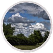 A July Cold Front Rolling By Round Beach Towel