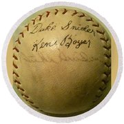 A Ken Boyer And Duke Snider Autograph Baseball Round Beach Towel