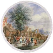 A Kermesse On St. Georges Day Round Beach Towel by Angel-Alexio Michaut
