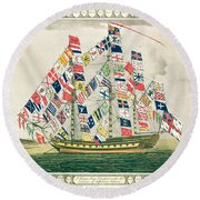 A King S Ship Dressed With The Colours Of Different Nations 6th October 1794 Round Beach Towel