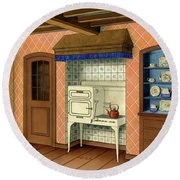A Kitchen With An Old Fashioned Oven And Stovetop Round Beach Towel