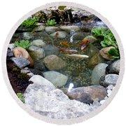 A Koi Pond For Outdoor Garden Round Beach Towel