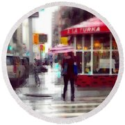 A La Turka In The Rain - Restaurants Of New York Round Beach Towel