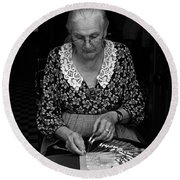 A Lacemaker In Bruges Round Beach Towel