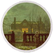 A Lady In A Garden By Moonlight Round Beach Towel