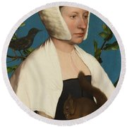 A Lady With A Squirrel And A Starling Round Beach Towel