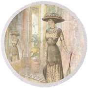 A Lady's Curious Reflection Round Beach Towel
