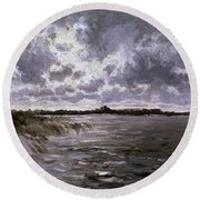 A Lake In The Netherlands Round Beach Towel