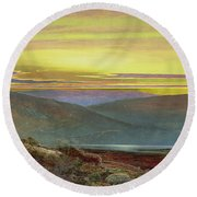 A Lake Landscape At Sunset Round Beach Towel