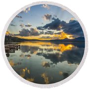 A Lake Pend Oreille Sunset  -  120601a-040 Round Beach Towel