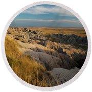 A Landscape Image Of Badlands National Round Beach Towel