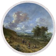 A Landscape With A High Dune And Peasants On A Road Round Beach Towel
