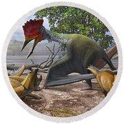 A Large Bakonydraco Pterosaur Attacking Round Beach Towel by Sergey Krasovskiy