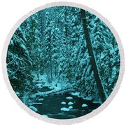A Leaning Tree Over The Little Naches River Round Beach Towel