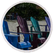 A Line Up Of A Different Color Round Beach Towel