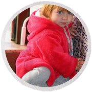 A Little Girl In Red Round Beach Towel