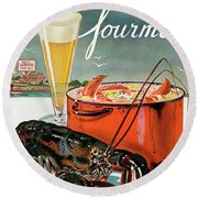A Lobster And A Lobster Pot With Beer Round Beach Towel