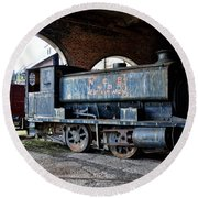 A Locomotive At The Colliery Round Beach Towel