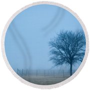 A Lone Tree In The Fog Round Beach Towel