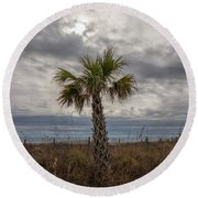 A Lonely Palm Tree Round Beach Towel