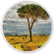 A Lonely Pine Round Beach Towel