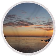 A Long Line Of Canada Geese At Sunrise Round Beach Towel