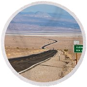 A Long Road Through Death Valley Round Beach Towel