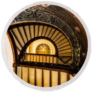 A Look Up The Stairs Round Beach Towel