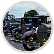 A Lot Of Classic Cars Round Beach Towel