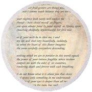 A Love Poem Round Beach Towel