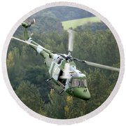 A Lynx Mk 7 Helicopter Round Beach Towel