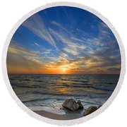 A Majestic Sunset At The Port Round Beach Towel