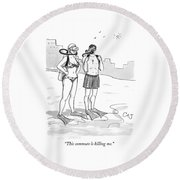 A Man And A Woman In Swimsuits And Diving Gear Round Beach Towel by Carolita Johnson